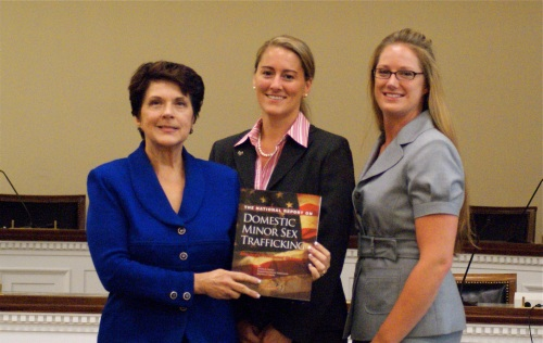 """Linda Smith, Samantha Healy Vardaman and Melissa Snow with the newly released report: """"The National Report on Domestic Minor Sex Trafficking"""""""